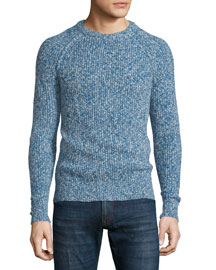 Marled Crewneck Knit Sweater, Blue