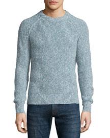 Marled Crewneck Knit Sweater, Light Blue