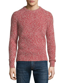Marled Crewneck Knit Sweater, Red