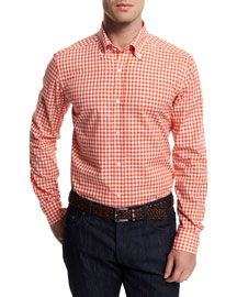 Gingham Woven Dress Shirt, Orange