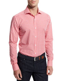 Gingham Woven Dress Shirt, Pink