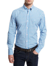 Bicolor Gingham Dress Shirt, Bright Blue
