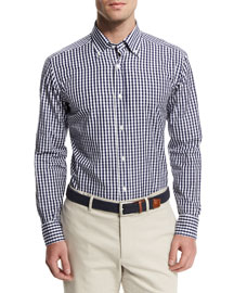 Gingham Woven Dress Shirt, Navy