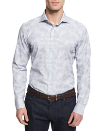 Small-Check Camo Woven Dress Shirt, Blue