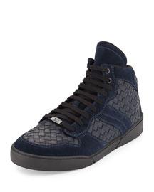 Men's Intrecciato High-Top Leather Sneaker, Blue