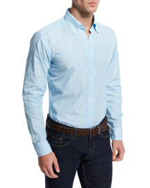 Small-Striped Woven Dress Shirt, Blue
