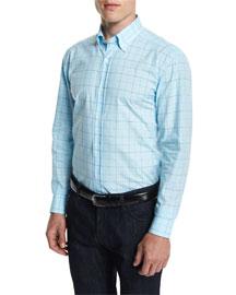 Windowpane Check Woven Dress Shirt, Blue