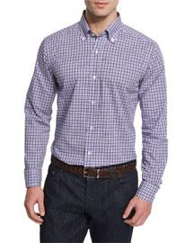 Bicolor Gingham Woven Dress Shirt, Navy
