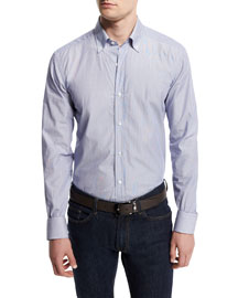 Small-Striped Woven Dress Shirt, Navy