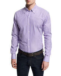 Striped Woven Dress Shirt, Purple