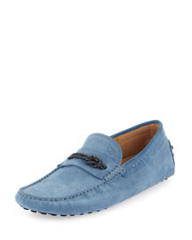 Gommini Suede Driving Shoe, Blue