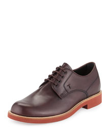 Leather Lace-Up Shoe, Burgundy