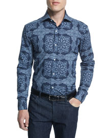 Fancy Floral-Pattern Woven Dress Shirt, Navy