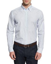 Vertical-Stripe Woven Dress Shirt, Blue