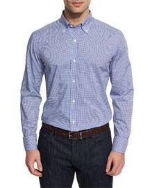 Small Gingham Woven Dress Shirt, Navy