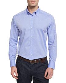 Small-Dot Woven Dress Shirt, Blue