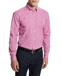 Bicolor Gingham Woven Dress Shirt, Pink