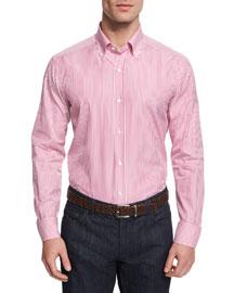 Vertical-Stripe Woven Dress Shirt, Pink