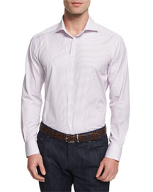 Bicolor Striped Woven Dress Shirt, Pink
