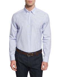 Bicolor Vertical-Stripe Woven Dress Shirt, Blue