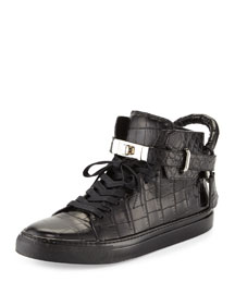 Men's 100mm Crocodile-Embossed High-Top Sneaker, Black