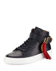 100mm Tassel Leather High-Top Sneaker, Blue