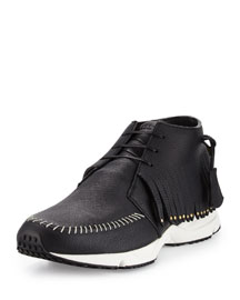 Fringed Leather Gladiator Sneaker, Black