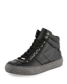 Belgravi Men's Leather High-Top Sneaker, Black