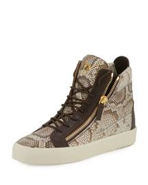 Men's Python-Embossed High-Top Sneaker, Light Brown