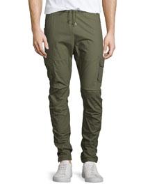 Slim-Leg Drawstring Cargo Pants, Olive