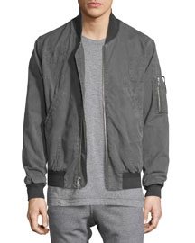 Paneled Cotton Flight Jacket, Washed Black