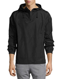 Nylon Tech Hooded Pullover Jacket, Black