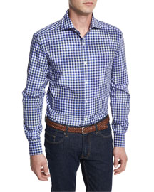 Bicolor Gingham Woven Dress Shirt, Navy