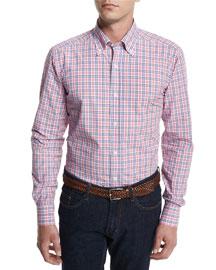 Bicolor Check-Print Woven Dress Shirt, Pink