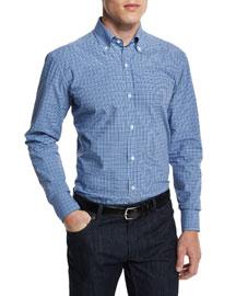 Bicolor Small-Gingham Woven Dress Shirt, Navy