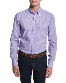 Bold Check Woven Dress Shirt, Purple