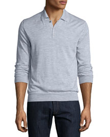 Long-Sleeve Cashmere Polo Sweater, Light Gray