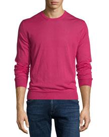 Crewneck Cashmere Sweater, Magenta