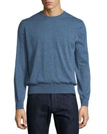 Crewneck Cashmere Sweater, Blue