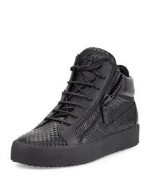 Men's Laser Embossed Leather High-Top Sneaker, Black
