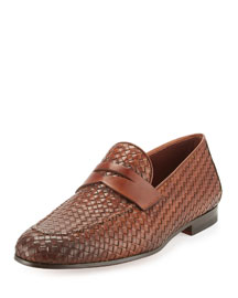 Woven Leather Penny Loafer, Light Brown