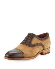 Suede Cap-Toe Brogue Oxford, Medium Brown