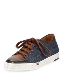 Playfield Side-Stitch Denim & Leather Sneaker, Navy