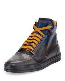 Playtime Tricolor Leather High-Top Sneaker, Navy