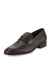 Louis Pebbled Leather Penny Loafer, Brown