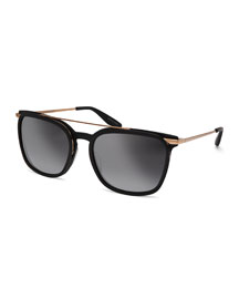 Ronson Polarized Rectangular Top-Bar Sunglasses, Matte Black