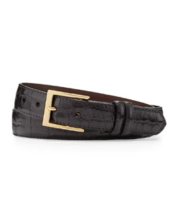 W.Kleinberg Glazed Alligator Belt, Black