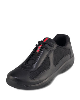 Prada Black Leather Sneaker
