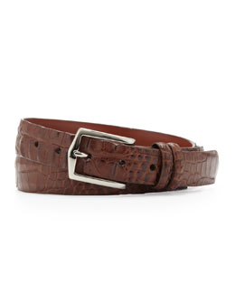 W.Kleinberg Hornback Alligator Belt, Brown