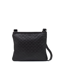 Gucci Leather Messenger Bag, Dark Cocoa